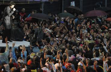"Colombian musician Juan ""Juanes"" Vasquez performs during the 'Valladolid Latino' concert at Jose Zorrilla stadium in the Spanish town of Valladolid"
