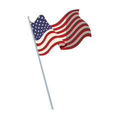 united states of america flag with pole vector illustration