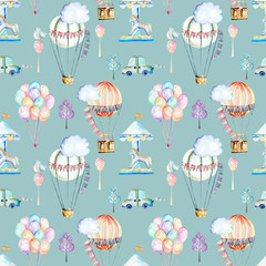 Seamless pattern on weekend theme; watercolor air balloons, aerostats, carousel and cars, hand drawn isolated on a blue background