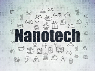 Science concept: Nanotech on Digital Data Paper background