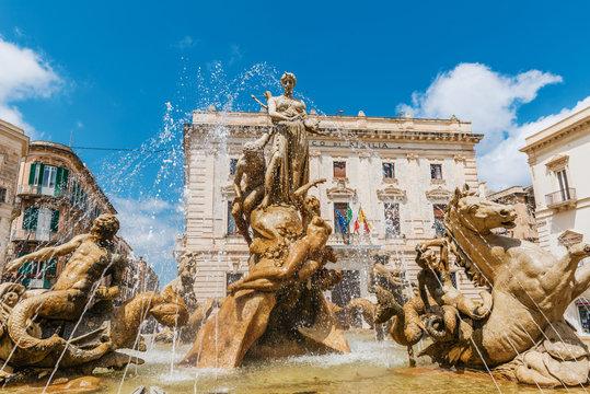 Famous Artemis (Diana) Fountain, Syrakuse, Sicily
