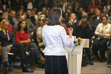 France's Socialist Party presidential candidate Segolene Royal delivers a speech during a political rally in Paris