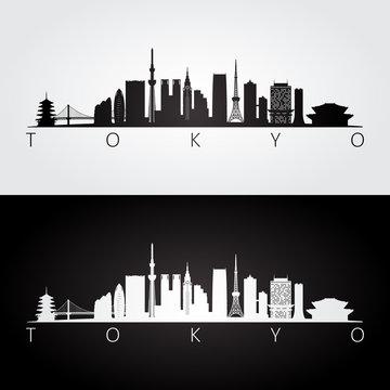 Tokyo, Japan skyline and landmarks silhouette, black and white design.