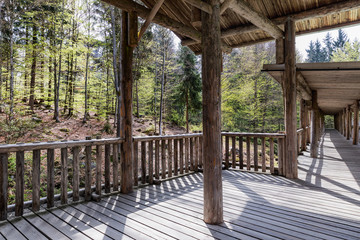 Viewing wooden footbridge for animal watching, Bavaria, Germany. Wooden bridge with a roof in the forest.