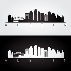 Austin USA skyline and landmarks silhouette, black and white design.
