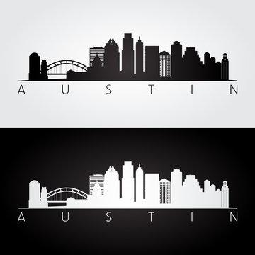 Austin USA skyline and landmarks silhouette, black and white design.