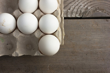 Close up of eggs in a Stand for eggs. Top view. Chicken Egg. Hen eggs basket