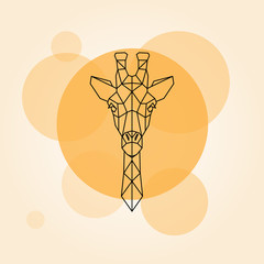 Giraffe head geometric lines silhouette.