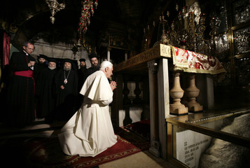 Pope Benedict prays in the Golgotha in Church of the Holy Sepulchre in Jerusalem