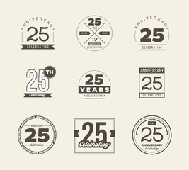 25 years anniversary logo set. Vector illustration.