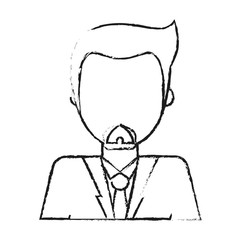 blurred silhouette faceless half body man with beard vector illustration