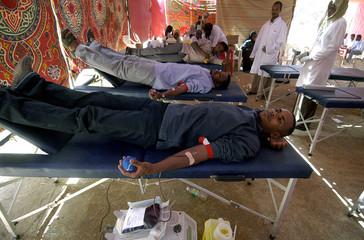 Sudanese students donate blood in Sudanese capital Khartoum