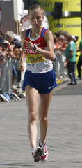 Kaniskina of Russia competes in the women's 20km walk at the world athletics championships in central Berlin