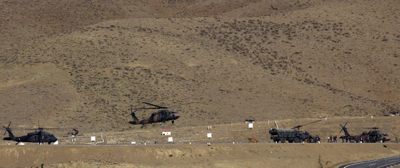 A Turkish military helicopter takes off from an army base in the southeastern Turkish province of Hakkari near the border with Iraq