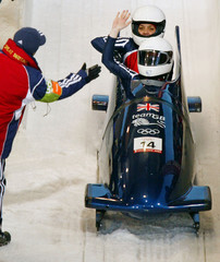 GREAT BRITAIN TWO WOMENS BOBSLEIGH TEAM CONGRATULATED AT OLYMPICS.