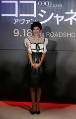 """French actress Tautou poses during a photo opportunity after a news conference for """"Coco Avant Chanel"""" in Tokyo"""