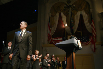 U.S. President Obama is pictured on stage at the Lincoln Bicentennial in Ford's Theatre in Washington
