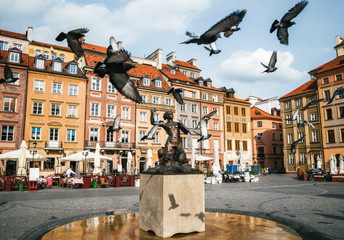 Birds of pigeons are flying through Stare Miasto Old Town Market Square with Mermaid Syrena Statue...