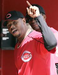Cincinnati Reds star Ken Griffey Jr. before spring training game against the Tigers in Sarasota.