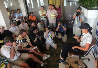 Wie of the US speaks to members of the media after a practice round before the Sony Open in Oahu