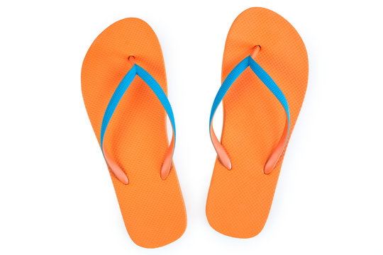Orange Flip Flops Isolated On White Background. Top View