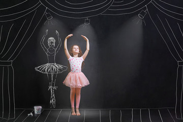 girl dreaming a dansing ballet on the stage.