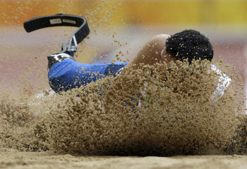 Italy's Marai competes in the men's long jump F42/44 final during the Beijing 2008 Paralympic Games