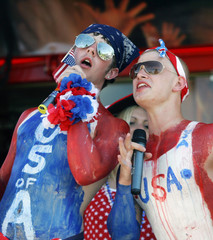 US fans wait in the stands before the Group E World Cup 2006 soccer match between the US and Czech Republic in Gelsenkirchen