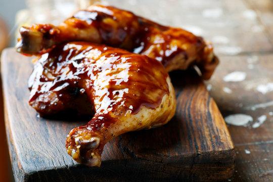 Grilled Glaze chicken legs .selective focus
