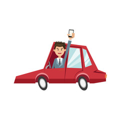 character man in red car with mobile phone vector illustration