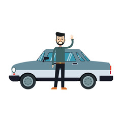 character bearded man hipster standing with gray vehicle vector illustration