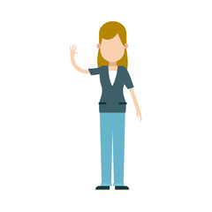 character blonde woman female waving hand vector illustration
