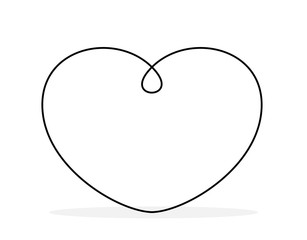 Continuous line drawing of a heart