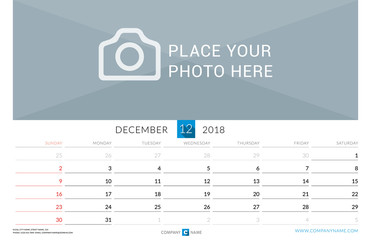 December 2018. Wall Monthly Calendar for 2018 Year. Vector Design Print Template with Place for Photo. Week Starts on Sunday. Landscape Orientation