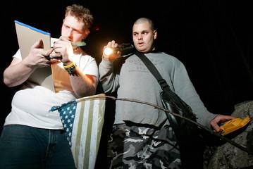 Valley Rangers Paranormal Investigators Bidondi Welliver look for ghosts in Cumberland, Rhode Island.