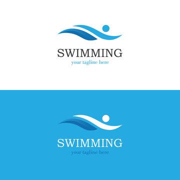 Abstract swimming logo