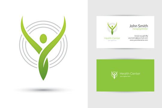 Abstract human logo and business card design template in green color