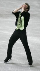 LINDEMANN FROM GERMANY REACTS AFTER THE MENS SHORT PROGRAMME AT THE WORLD FIGURE SKATING ...