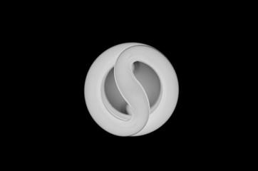 Spiral light bulb on the black background
