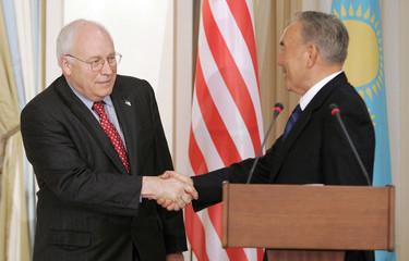 US Vice President Cheney and Kazakh President Nazarbayev shake hands at Presidential Palace in Astana, Kazakhstan