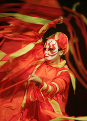 """Performer of troupe Muscle Musical dances during performance of """"Matsuri"""" in Tokyo"""