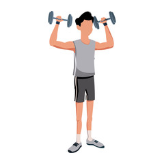 fitness man bodybuilding exercise strong vector illustration