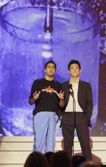 "Kal Penn and John Cho announce winner of Best New Franchise award at ""G-Phoria - The Award Show 4 Gamers""."