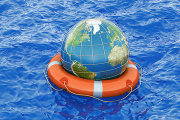 Earth globe with lifebuoy on the open sea. Save the world concept, 3D rendering