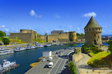 Tour Tanguy and Old castle of city Brest, Finistere, Brittany