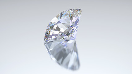 3D illustration diamond with reflection