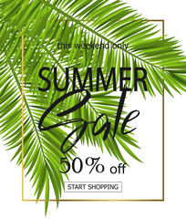 Summer sale banner, poster with palm leaves and handwriting lettering. Tropical background. Vector illustration EPS10.