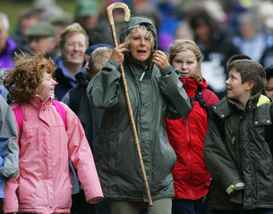 Britain's Camilla Duchess of Cornwall takes part in 10 mile walk around Loch Muick on Balmoral Estate in Royal Deeside Scotland