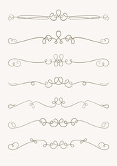 Set of 7 decorative swirls elements, dividers, page decors.