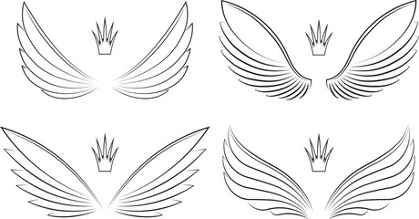 Set of four pairs of wings with crowns. Vector illustration.
